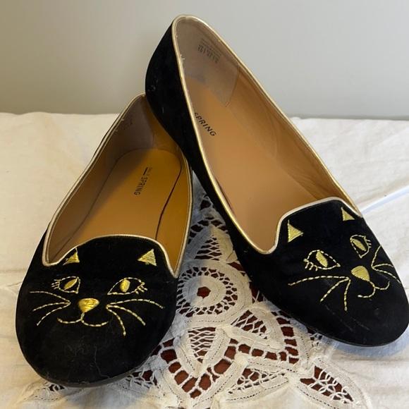 Call it Spring retro black velvet gold cat flat 10